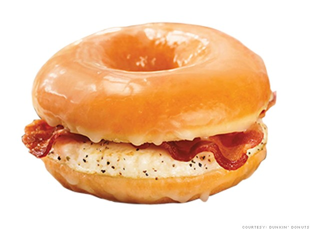 2013 food glazed donu breakfast sandwich dunkin donuts