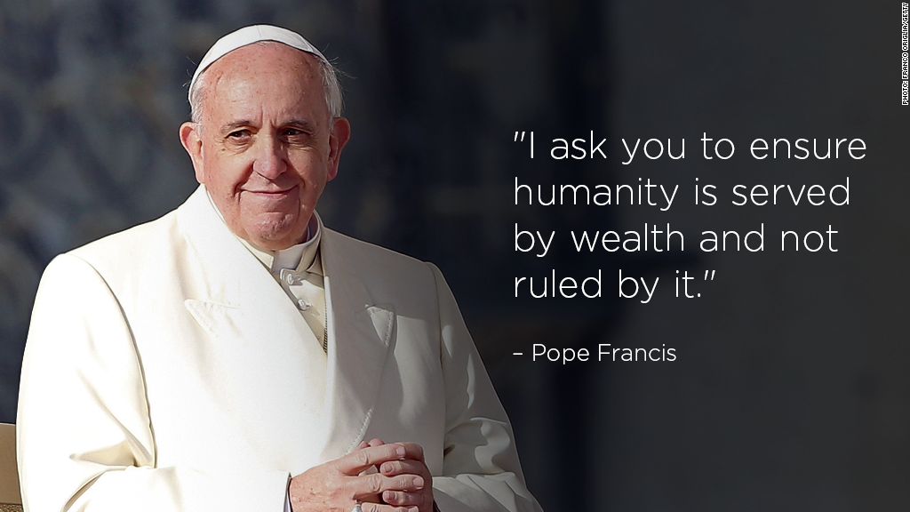Pope sending a message to world business leaders