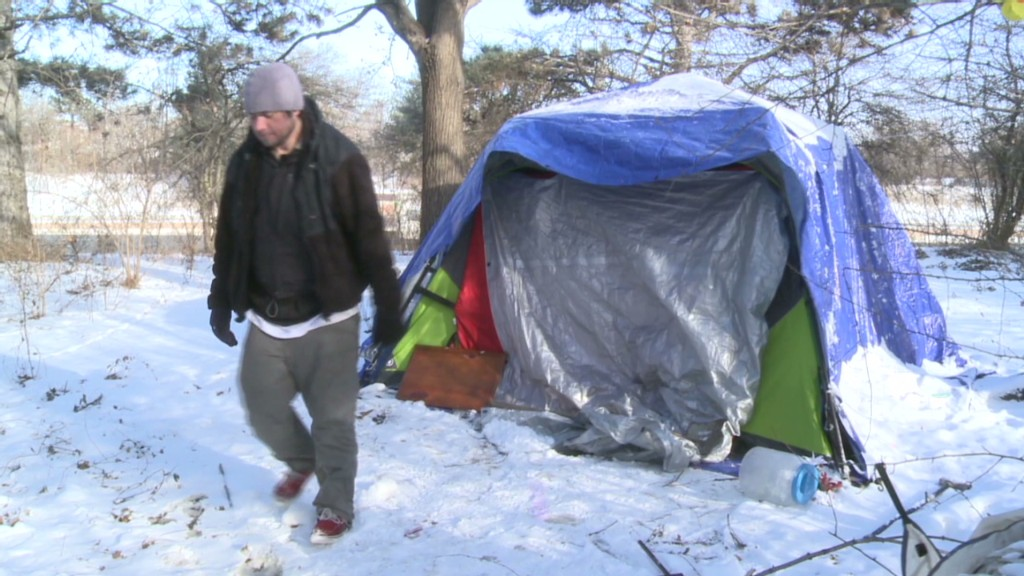 Braving the cold in Camden's tent city