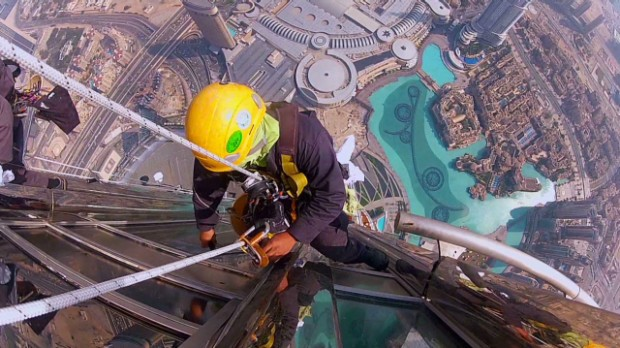 Washing windows on the tallest building