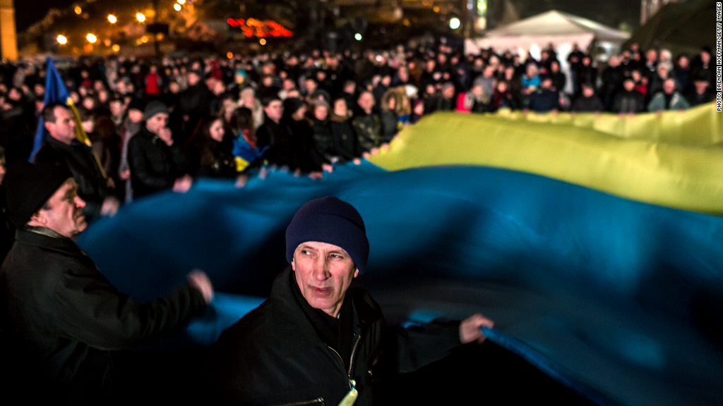 ukraine protest large flag
