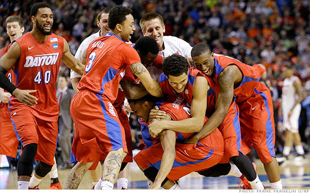 ncaa dayton win celebration