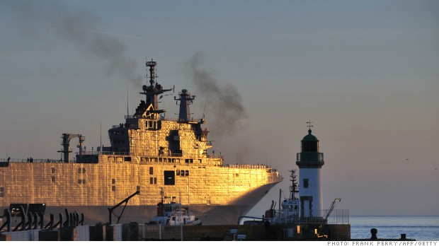 The Vladivostok warship, a Mistral class LHD amphibious vessel ordered by Russia to the STX France shipyard in Saint-Nazaire, western France, leaves for her first trial on March 5.