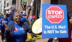 Postal workers protest Staples