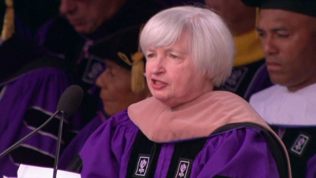 Watch Yellen give speech at Yankee Stadium