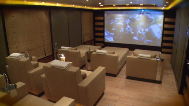 Mega yacht with a movie theater