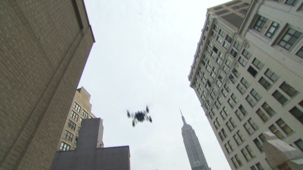 Flying mini, jumping drones over Manhattan