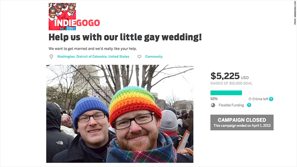indiegogo funded wedding