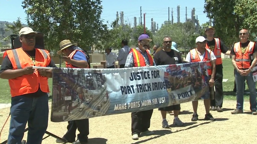 California port truck drivers on strike