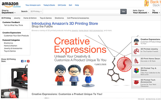 Amazon launches 3-D printing store