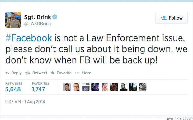 facebook down 911
