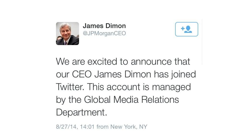 Jamie Dimon JPMorgan twitter