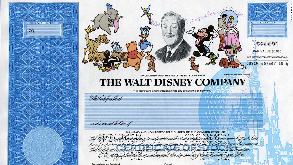 Disney stock certificate