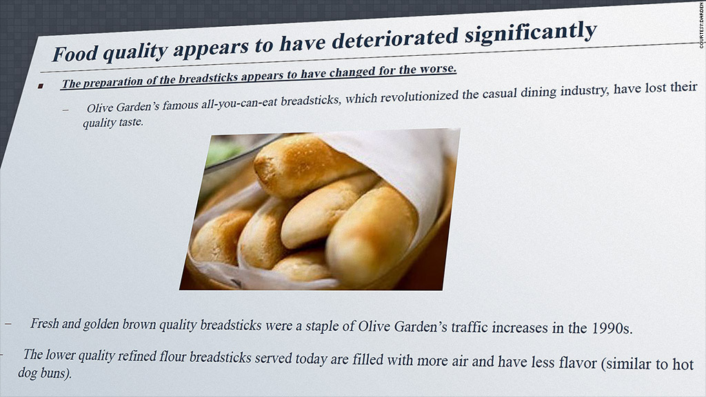 Sales Down At Olive Garden Shareholder Wants Hotter Breadsticks