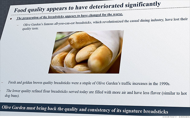Sales down at olive garden shareholder wants hotter breadsticks sep 12 2014 for What time does olive garden open