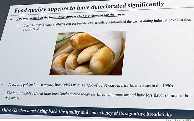 Sales Down At Olive Garden Shareholder Wants Hotter Breadsticks Sep 12 2014