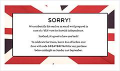 Oops! Retailer hails independent Scotland
