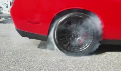 Burning rubber in a 707-hp muscle car