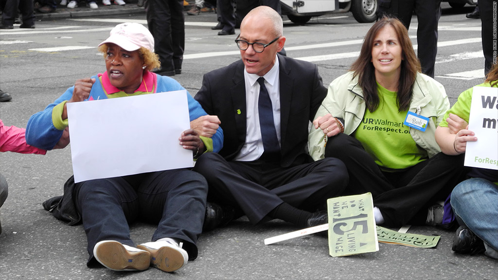 wal mart protest sitting