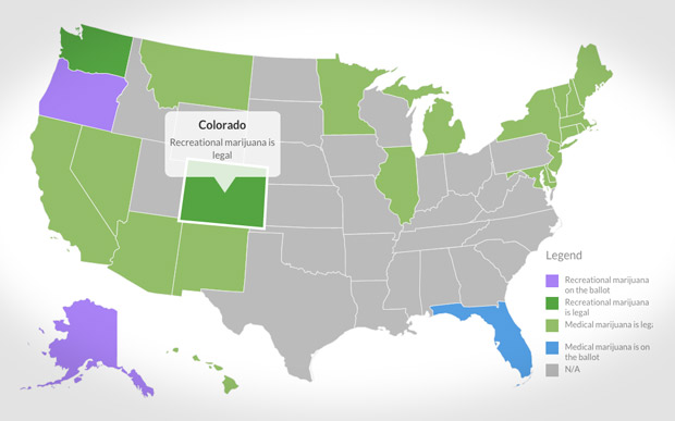 Where Pot Is Legal CNNMoney - Us map on weed laws