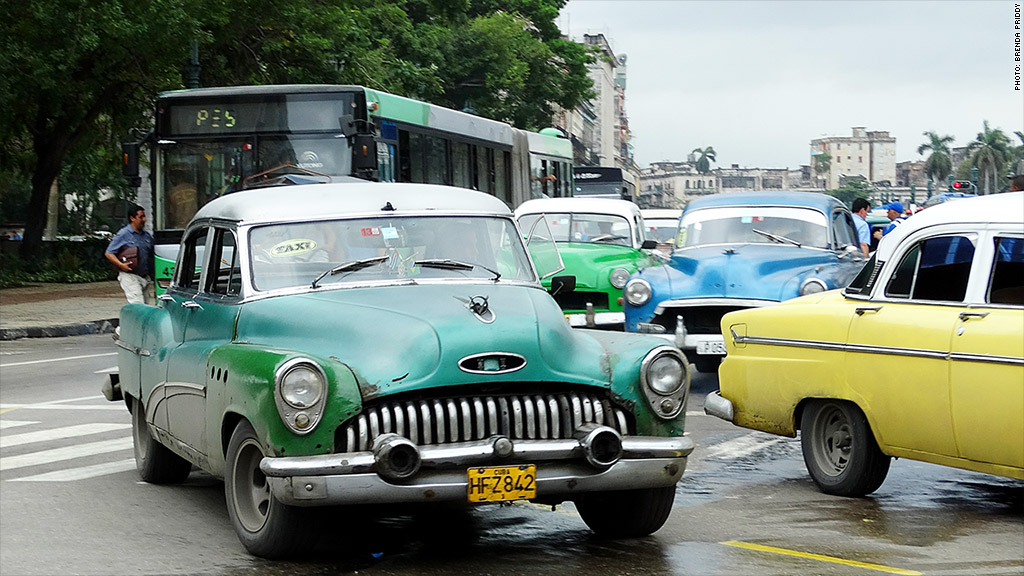 cuban cars green white taxi