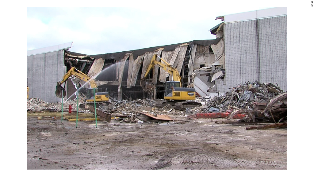 Demolition begins on giant ghost mall