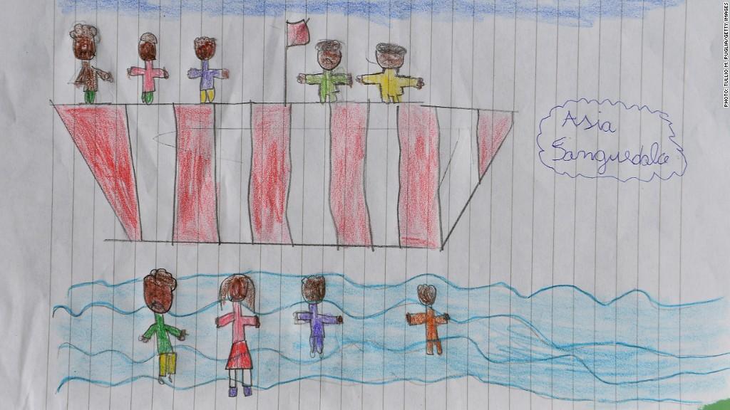 migrants drawing children