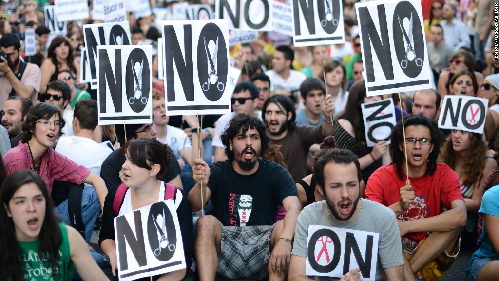 Spain cuts protests
