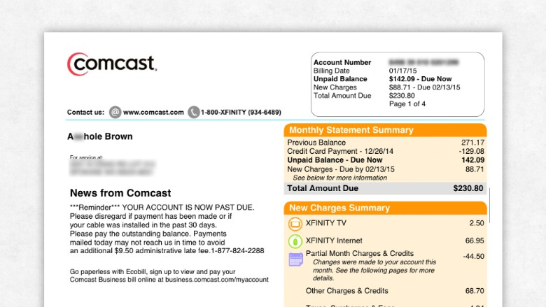 Write a letter to comcast