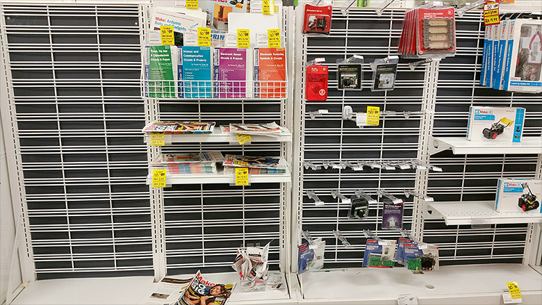 radioshack empty shelves