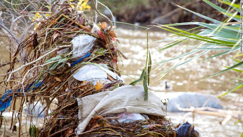 plastic bag river pollution