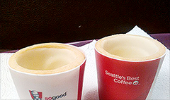KFC tests edible coffee cups