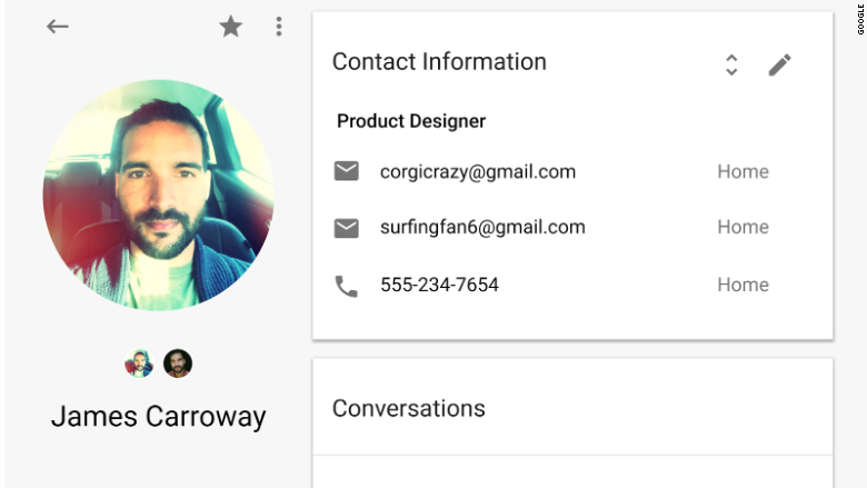 google contacts preview card