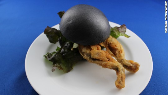 Frogalicious! This cafe serves a whole frog burger