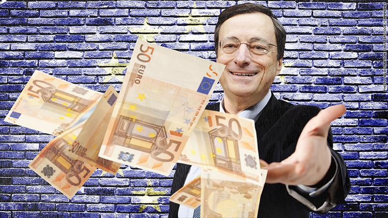 mario draghi raining euros