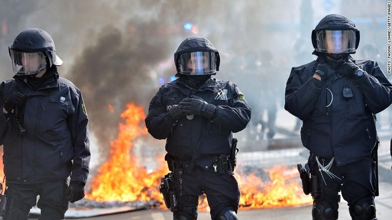 ecb protest police