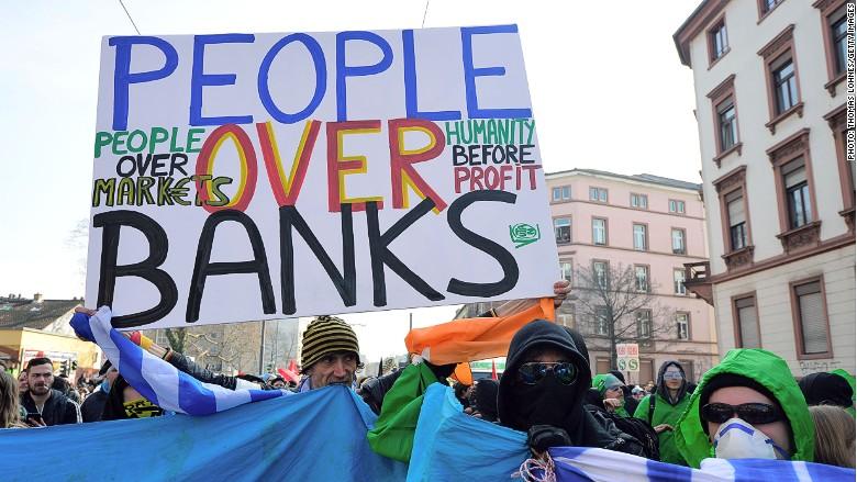 ecb protest bank