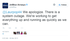 JetBlue blues: System outage briefly grounds flights