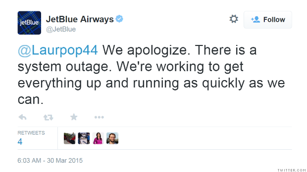 Jetblue Blues System Outage Briefly Grounds Flights Mar
