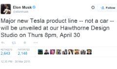 Elon Musk to unveil 'major new Tesla product line'