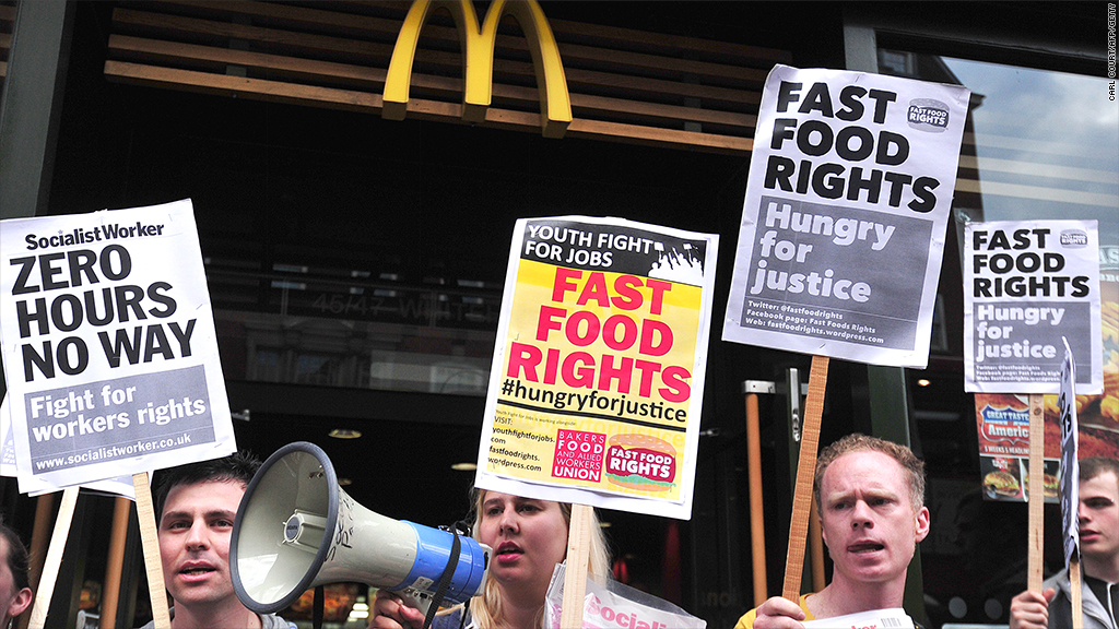 McDonald's workers protest for higher wages