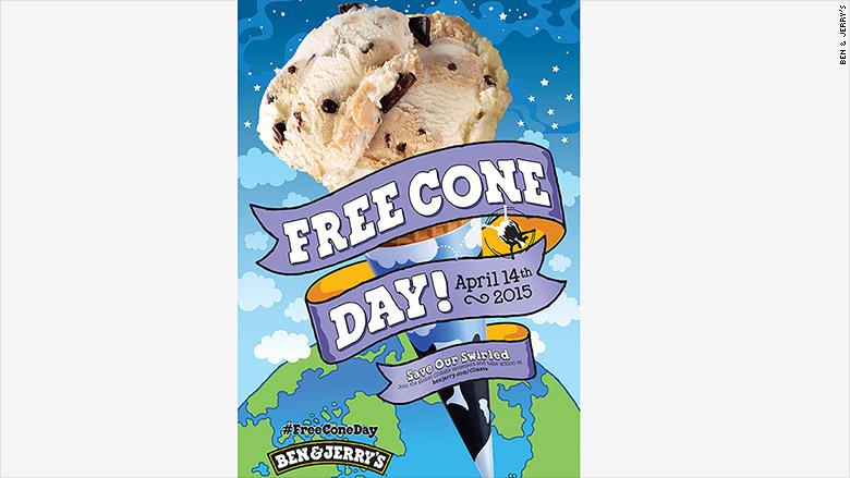 ben jerrys free cone