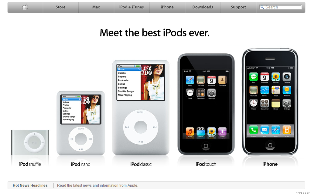 iPod Touch - Sept. 14, 2007 - The history of Apple.com ...