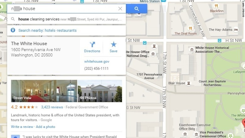 google maps white house n word