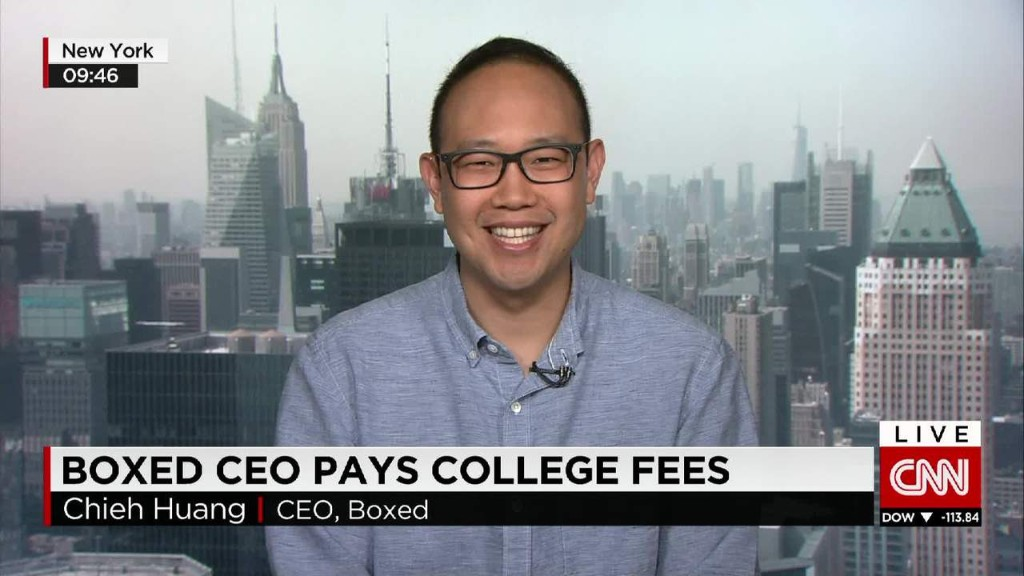 Boxed CEO pays college tuition for workers' kids