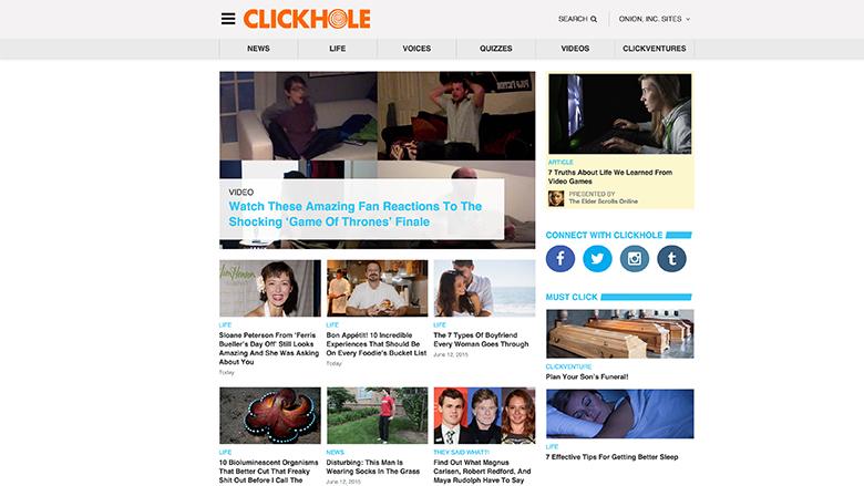 clickhole homepage 2