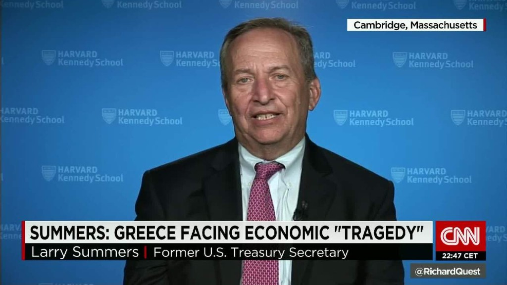 Larry Summers: Greece facing economic 'tragedy'