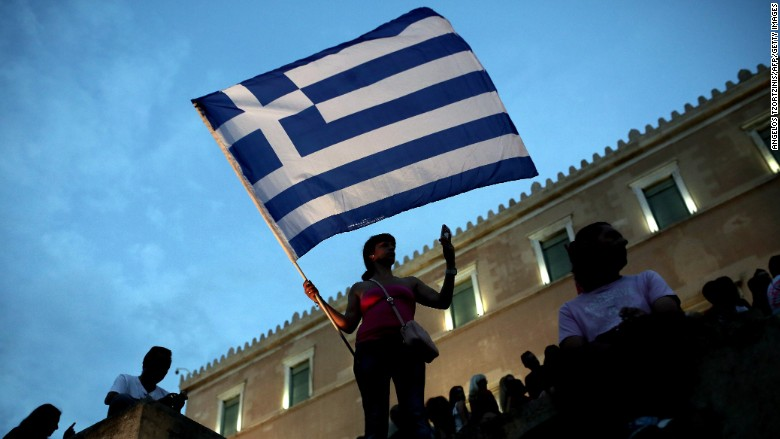 greece flag markets protest