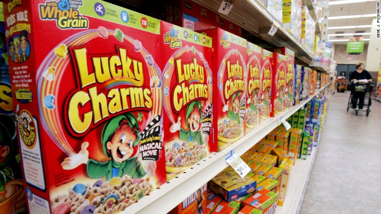 lucky charms cereal shelf