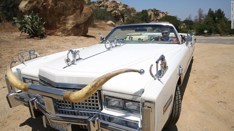 Peter in nudie car in desert